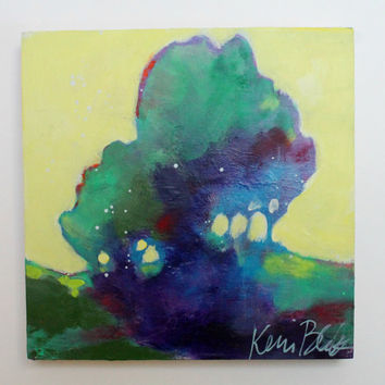 "Small Abstract Tree Painting, Landscape Original, Modern ""Summer Shade"" 8x8"""