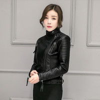2016 New Fashion Brand Autumn Winter Faux Soft Leather Women PU Jacket Zippers Long Sleeve Motorcycle Coat