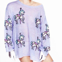 Merry-Go-Round Print Long Sleeve Knitted Pullover