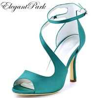 Woman Shoes High Heel Strap Sandals Turquoise Peep Toe Bridesmaid Satin Prom Evening P