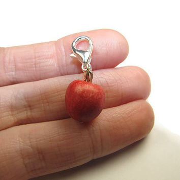 Red Apple Charm - Miniature Food Jewelry, Food Jewelry, Polymer Clay Charm, Clay Charm, Apple, Fruit Charm, Fimo Charm, Stitch Marker