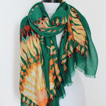 tribal green scarf,scarf,wrap scarf,long scarf, loop scarf, gift
