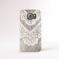 Lace Samsung Galaxy S6 Case, White Lace Samsung Case, Print Wood Smasung Galaxy S6 Case, Wedding Samsung Galaxy Case, Pretty Samsung Case