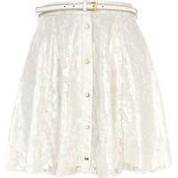 River Island Womens Cream lace button down skater skirt