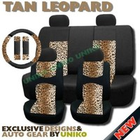 Supreme Mesh Safari Accent Seat Covers Classic Brown Tan Leopard Thick Padded Comfort - Front & Rear Steering Wheel Seat Belt Covers