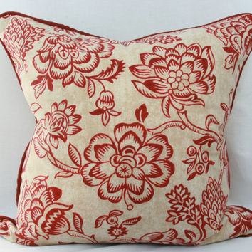 Burgundy & tan floral decorative throw pillow with burgundy piped trim. burgundy pillow. red pillow. 20 x 20 pillow. red welted pillow