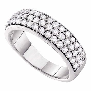 10kt White Gold Womens Round Pave-set Diamond Triple Row Wedding Band 1.00 Cttw
