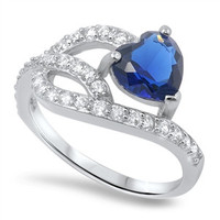 Blue Sapphire Heart Shape & Cubic Zirconia .925 Ring