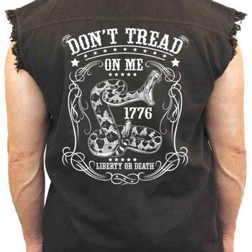 Mens Don't Tread On Me Liberty Or Death Sleeveless Denim Shirt