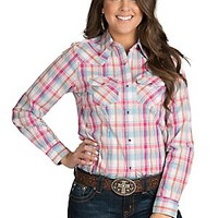 Wired Heart Women's Pink and Turquoise Plaid Western Shirt