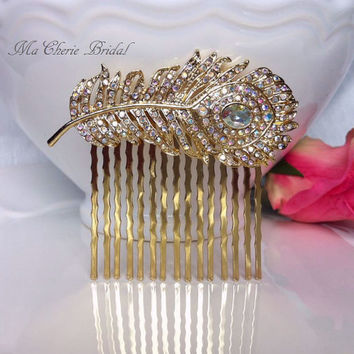 Gold Bridal Hair Comb Gold Peacock Comb Bridal Accessories Aurora Borealis Peacock Feather Hair Comb Gold Peacock Wedding Accessories