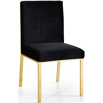 Opal Black Velvet Dining Chair Gold (set of 2)
