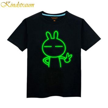 2017 NEW boy t shirt 100% cotton children summer wear kid's hip hop Neon Print t shirt Party Club Night light punk t-shirt, C123