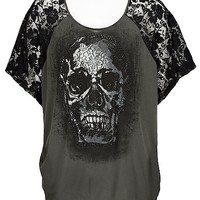 Crash & Burn Skull Lace T-Shirt - Women's Shirts/Tops | Buckle