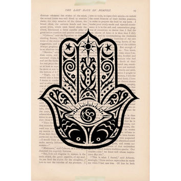 Black friday sale Hamsa Hand evil eye dictionary art print - vintage art book page print - dictionary art page print art
