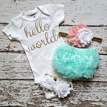 Baby Girl Take Home Outfit Newborn Baby Girl Hello World Onesuit Mint Bloomers Pink & White Gold Headband Sandals Set