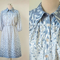 Vintage 1970's Dress - Midi - 70's Shirt Dress - Airforce Blue And White