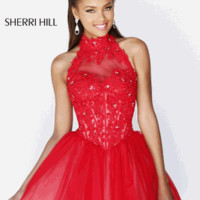 Sherri Hill 21193 Size 00 in Red/Nude