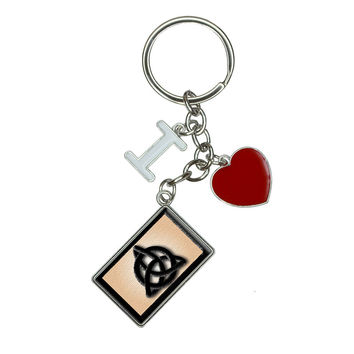 Celtic Triquetra Circle Knot Irish I Heart Love Keychain