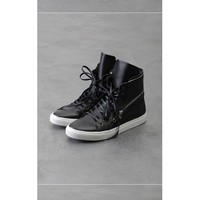 Mens Marc Dual Zipped Leather Hightop Sneakers at Fabrixquare