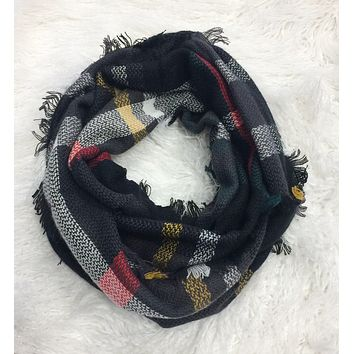 One in a Million Grey Multi Plaid Scarf