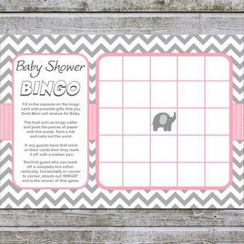 Baby Shower Bingo Elephant Baby Shower Games | Girl Baby Shower Bingo Game Cards | Printable Baby Bingo (50a) Instant Download Digital Files