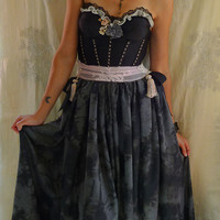 Starry Night Bustier Gown... Size Small or Medium... alternative wedding dress gothic whimsical eco friendly free people bridesmaid rococo
