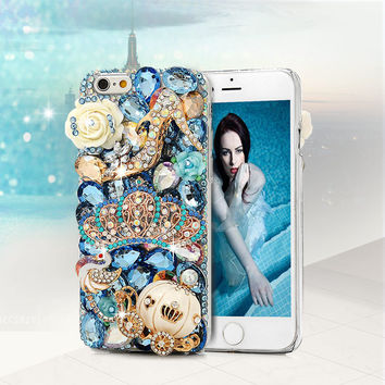 3D Crown Diamond Crystal Rhinestone Phone Case For iPhone 6 5 5S SE For Samsung Galaxy S7 Edge Note 5 For Sony Z5 For Huawei P9