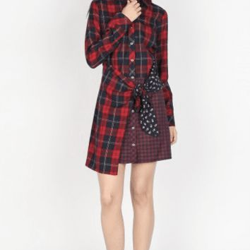 Women's Button Down Mixed Plaid Dress with Wrap Tie Detail