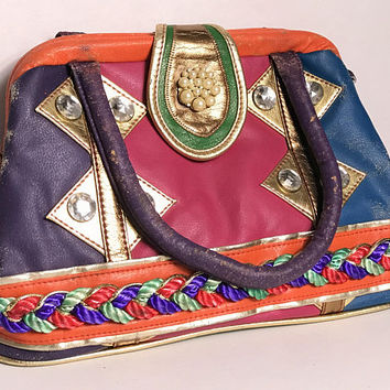 80s ELEGANCE Rainbow Leather Handbag / Funky Doctors Bag Purse / Unique Colorful  Patchwork Hobo Bag / Rhinestone Bling Detail and Rope Trim