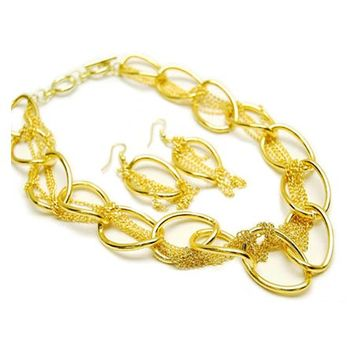 Heidy's 18 Inch Gold Chain & Hoop Fashion Necklace Set-Final Sale