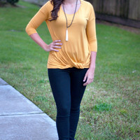 Close Out | Long Sleeve Front Knot Top | Mustard | Fall 816