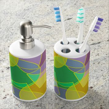 Stained glass geometric pattern bathroom set