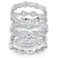 Silver Tone Set of Five DiamonUltraTM Cubic Zirconia Stackable Eternity Rings