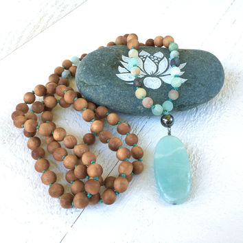 Amazonite Sandalwood Knotted Mala Beads, Earthy Mala Necklace, 108 Mala Bead Necklace, Yoga Meditation Beads, Yoga Beads