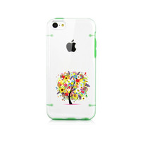 iPhone 6, 6 plus case, iPhone 5C 5s 5 case, Transparent clear hard cover tpu edge extra protection, green love tree wish tree case (K15)