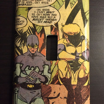 Artimorean-Made Vintage 80s Justice League's Blue Beetle & Booster Gold Decoupaged Wall Plate - Art by Kevin McGuire!