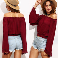 Patchwork Long Sleeve Fall Style Off the Shoulder Lace Tops Blouse [8906170887]