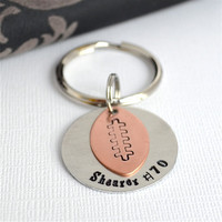 Father's Day- Football Keychain- Personalzied Hand-Stamped Keychain