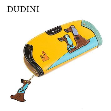 DUDINI New Arrive Fashion Cute Puppy Zipper Long Wallet Cartoon Dog 6 Colors PU Leather Girl Purse Ladies Clutch Card Holder