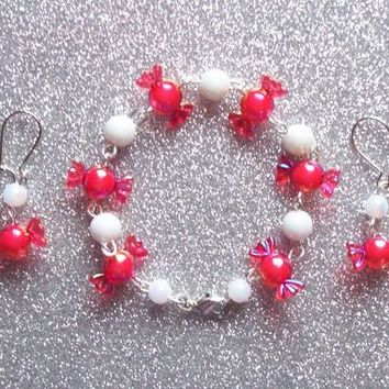 Peppermint Candy - Set of Earrings and Bracelet from On Secret Wings