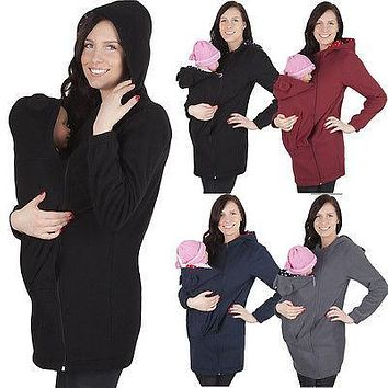 winter autumn fall infant Jacket Kangaroo Warm Maternity Hoodies Outerwear Coat for Pregnant Women mum femme