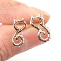 Cute Kitty cat Animal Outline Stud Earrings in Rose Gold