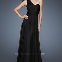 Sheer Back One Shoulder Gown by La Femme