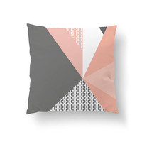 Pink Gray Pillow, Pastel Decor, Throw Pillow, Cushion Cover, Simple Art, Decorative Pillow, Geometric Triangles, Abstract Shapes, Home Decor