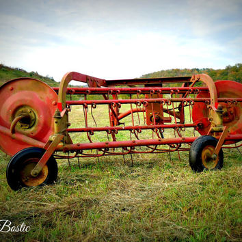 Antique Old Farm Equipment Hay Rake Photo Print Country Primitive Americana Decor Country Photography Country Pictures Farm Photos