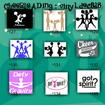 CHEERLEADING vinyl decals - 127-135 - cheerleader - cheer - pompoms - vinyl stickers - car decal - custom vinyl sticker