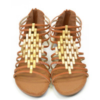 SZ 5.5 Crixus Valley Tan Strappy Sandals-OUT OF BOX