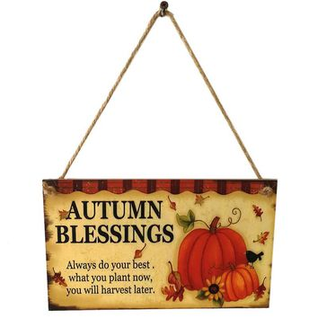 Happy Pumpkin Autumn Blessings Sign Hanging Plaque Thanksgiving Party Door Hanger Wall Decorations Wooden Creative Hanging Board