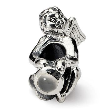Sterling Silver June CZ Birthstone, Angel Bead Charm